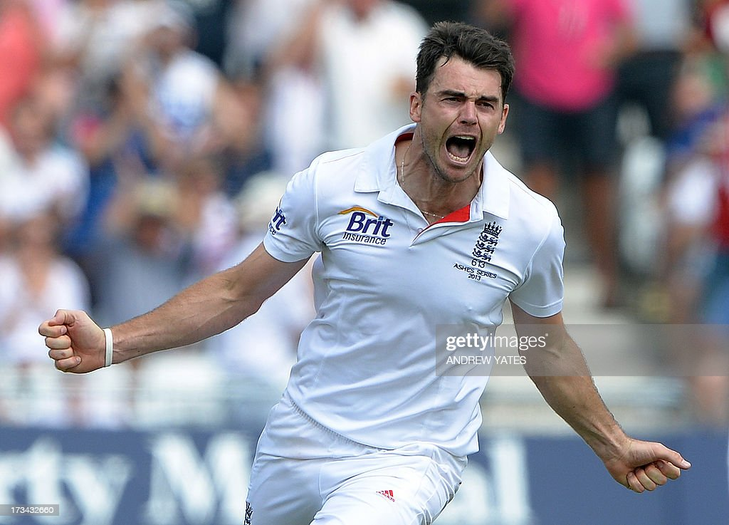 England's James Anderson celebrates after claiming the wicket of Australia's Ashton Agar during the fifth day of the first Ashes cricket test match between England and Australia at Trent Bridge in Nottingham, central England, on July 14, 2013.