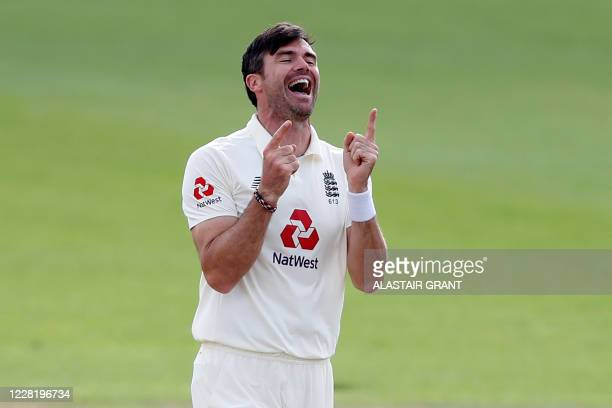 England's James Anderson celebrates after taking the wicket of Pakistan's Azhar Ali, his 600th test match wicket, on the fifth day of the third Test...