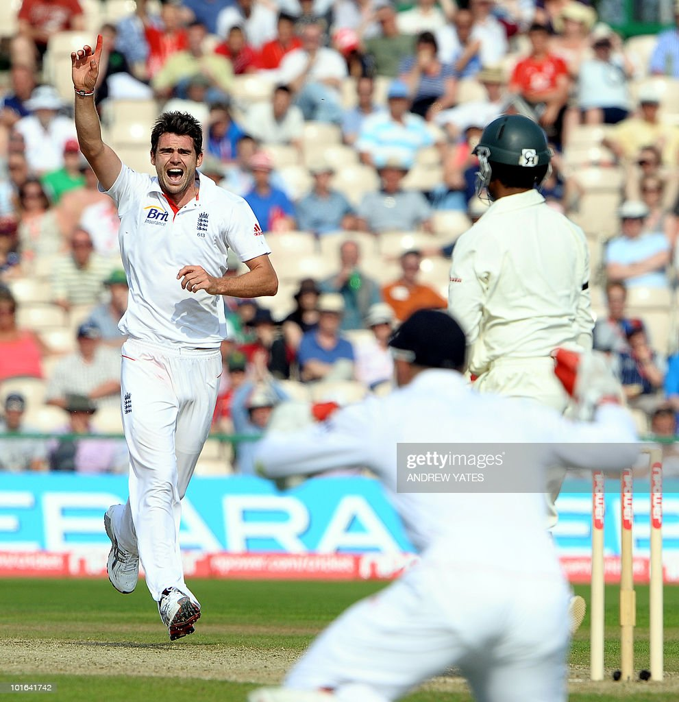 England's James Anderson (L) celebrates after taking the wicket of Tamin Iqbal of Bangladesh for 108 during the second day of the second Test match at Old Trafford in Manchester, north-west England on June 5 2010. Ian Bell scored his third century against Bangladesh but Tamim Iqbal led a spirited fightback as the Tigers refused to yield on the second day of the second Test here at Old Trafford.