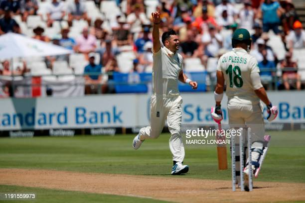 England's James Anderson celebrates after the dismissal of South Africa's captain Faf du Plessis during the second day of the second Test cricket...