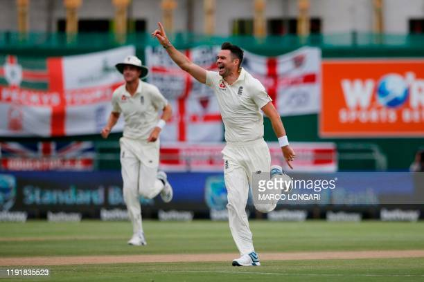 England's James Anderson celebrates after the dismissal of South Africa's Kagiso Rabada during the third day of the second Test cricket match between...