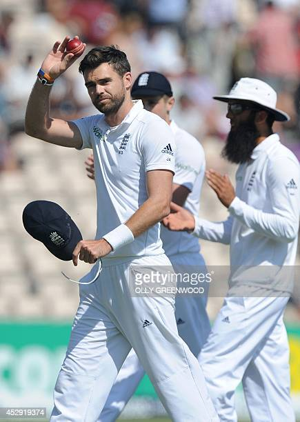 Englands James Anderson celebrates taking five wickets in the first innings on the fourth day of the third cricket Test match between England and...