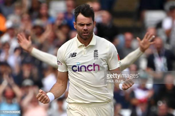 England's James Anderson celebrates taking the wicket of India's KL Rahul for 84 on the third day of the first cricket Test match of the India Tour...