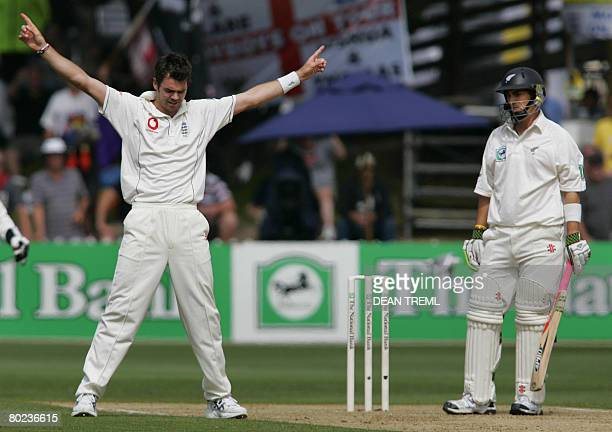 England's James Anderson celebrates the wicket of New Zealand's Mathew Sinclair during day two of the second Test match at the Basin Reserve in...