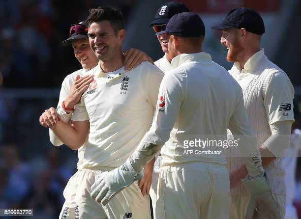 England's James Anderson celebrates the wicket of South Africa's captain Faf du Plessis on the second day of the fourth Test match between England...