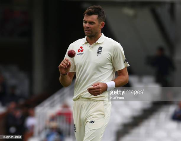 England's James Anderson during International Specsavers Test Series 5th Test match Day Five between England and India at Kia Oval Ground London...