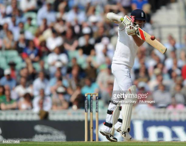 England's James Anderson edges a Morne Morkel delivery to wicket keeper AB de Villiers during the Investec first test match at the Kia Oval London