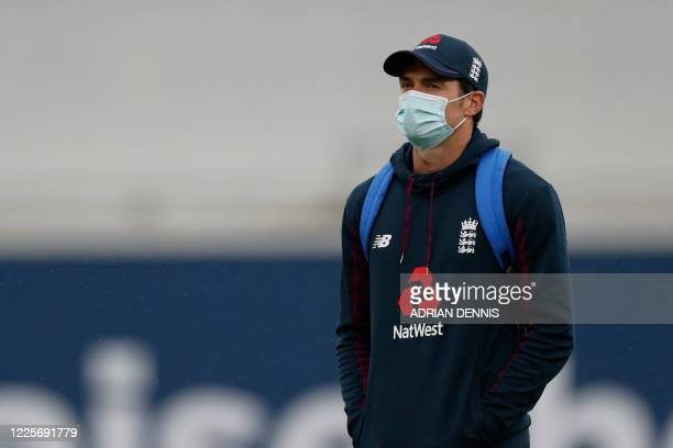 England's James Anderson walks off the field on the first day of the first Test cricket match between England and the West Indies at the Ageas Bowl...