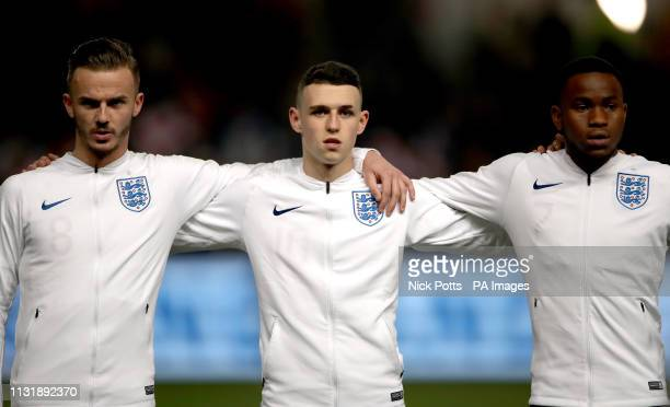 England's James Maddison, Phil Foden and Ademola Lookman before kick-off in the International Friendly match at Ashton Gate, Bristol.