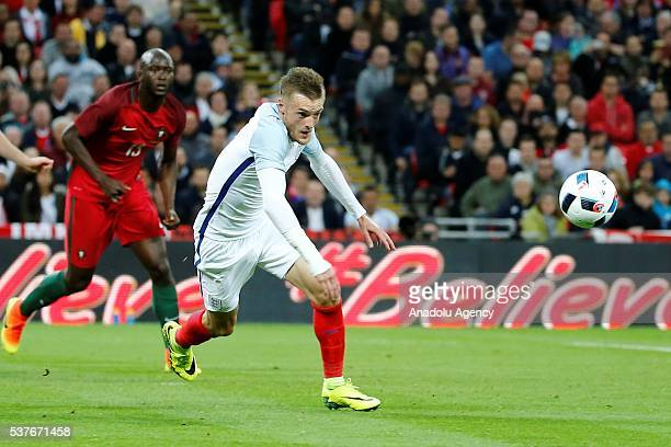 England's James Vardy in action during an international friendlies match between England and Portugal at Wembley Stadium on June 2 2016 in London...