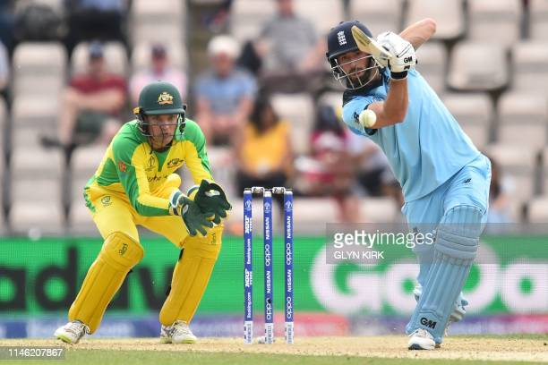 England's James Vince plays a shot during the 2019 Cricket World Cup warm up match between England and Australia at the Rose Bowl in Southampton...