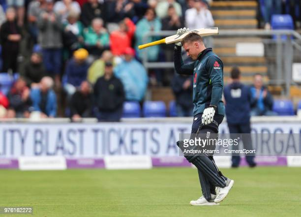 England's Jason Roy acknowledges the applause from the crowd at the end of his innings of 120 runs during the Royal London OneDay Series 2nd ODI...