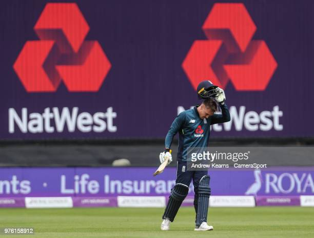 England's Jason Roy acknowledges the applause on reaching his century during the Royal London OneDay Series 2nd ODI between England and Australia at...