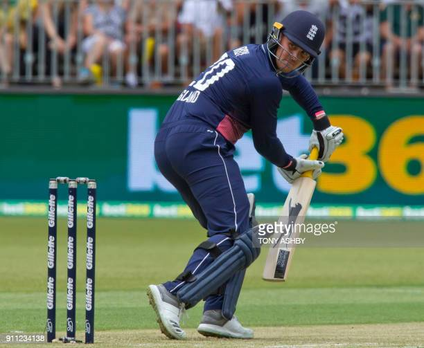 England's Jason Roy bats during the fifth oneday international cricket match between England and Australia at the Optus Perth stadium in Perth on...