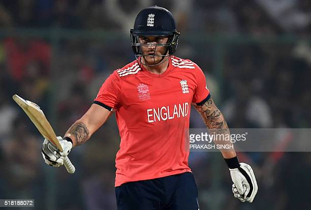 England's Jason Roy celebrates after scoring a halfcentury during the World T20 cricket tournament first semifinal match between England and New...