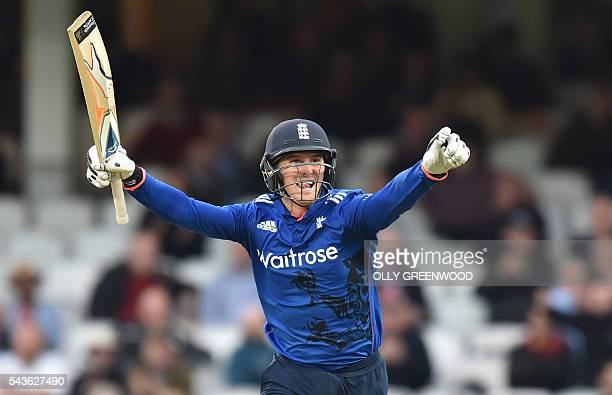 England's Jason Roy celebrates reaching his century during play in the fourth One Day International cricket match between England and Sri Lanka at...