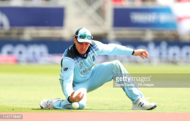 England's Jason Roy drops a catch from Pakistan's Mohammad Hafeez during the ICC Cricket World Cup group stage match at Trent Bridge Nottingham