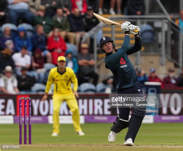 England's Jason Roy hits the ball to the boundary for four during the Royal London OneDay Series 2nd ODI between England and Australia at Sophia...