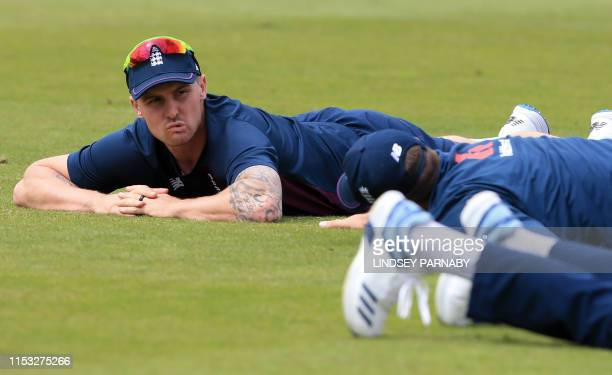 England's Jason Roy looks on during a training session at the Riverside Ground in ChesterleStreet northeast England on July 2 ahead of their 2019...
