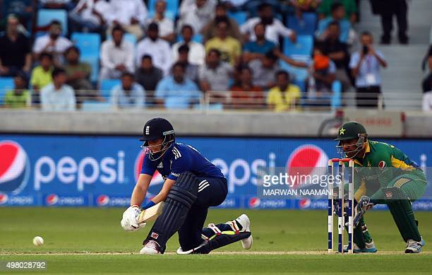 England's Jason Roy plays a shot during the fourth One Day International Cricket match between Pakistan and England at Dubai Sports City in Dubai on...