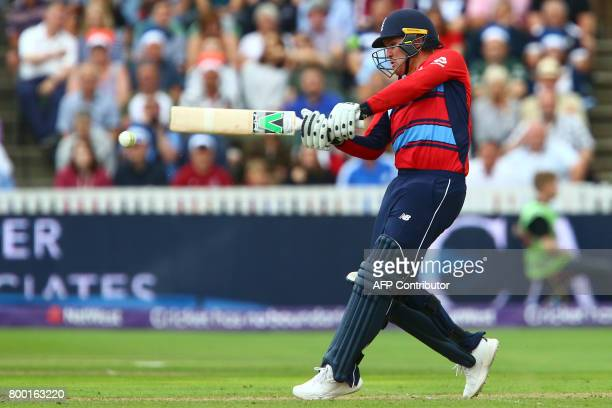 England's Jason Roy plays a shot during the second international Twenty20 cricket match between England and South Africa at The Cooper Associates...