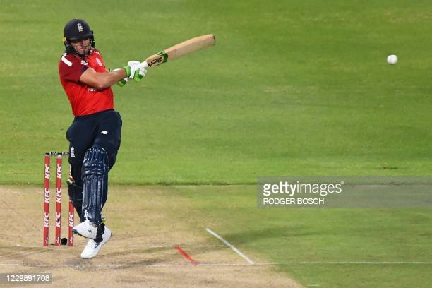 England's Jason Roy plays a shot during the third T20 international cricket match between South Africa and England at Newlands stadium in Cape Town,...