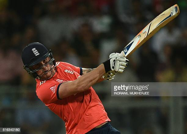 England's Jason Roy plays a shot during the World T20 cricket tournament match between England and South Africa at The Wankhede Stadium in Mumbai on...