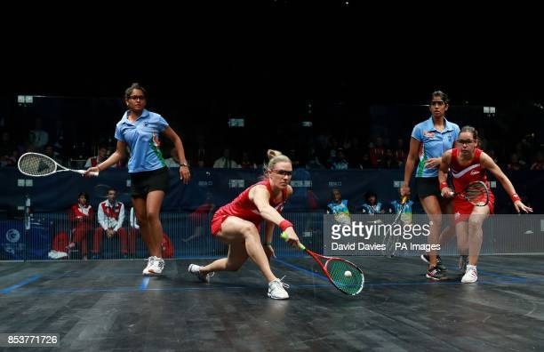 England's Jenny Duncalf and Laura Massaro during their Silver medal match in the Women's Doubles Squash at Scotstoun Sports Campus, during the 2014...