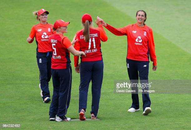 England's Jenny Gunn congratulates England's Sophie Ecclestone during the T20 Tri Nation Series match at the County Ground, Taunton.