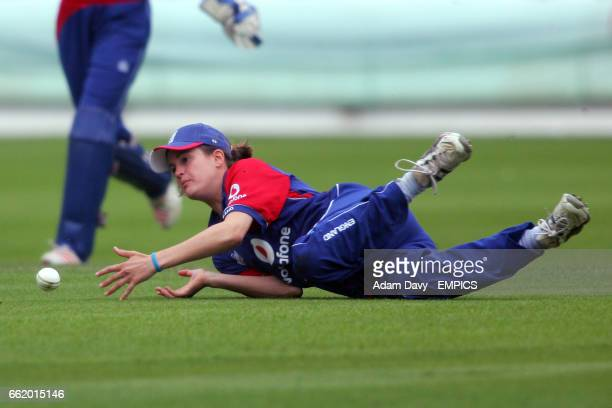 England's Jenny Gunn dives for a catch