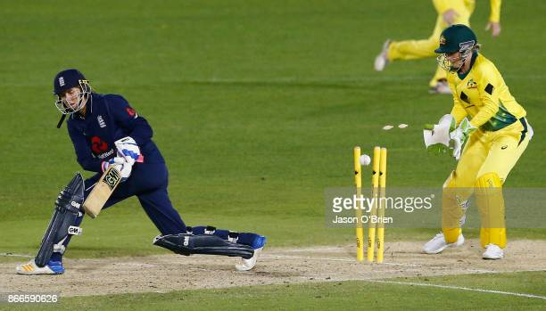 England's Jenny Gunn is bowled during the Women's One Day International match between Australia and England on October 26 2017 in Coffs Harbour...