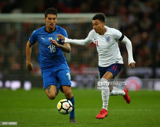 England's Jesse Lingard under pressure from Lorenzo Pellegrini of Italy during International Friendly match between England against Italy at Wembley...