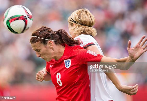 England's Jill Scott heads the ball during the bronze medal match at the 2015 FIFA Women's World Cup in Edmonton Alberta on July 4 2015 AFP PHOTO/...