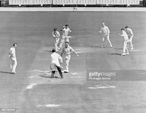 England's Jim Laker turns to appeal for the wicket of Australia's Ian Craig who he had trapped lbw for 38