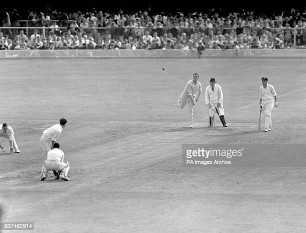 England's Jim Laker who took a record 19 wickets in the match bowling