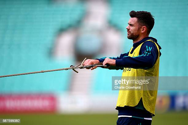 England's Jimmy Anderson in action during the England and Pakistan nets session at The Kia Oval on August 9 2016 in London England