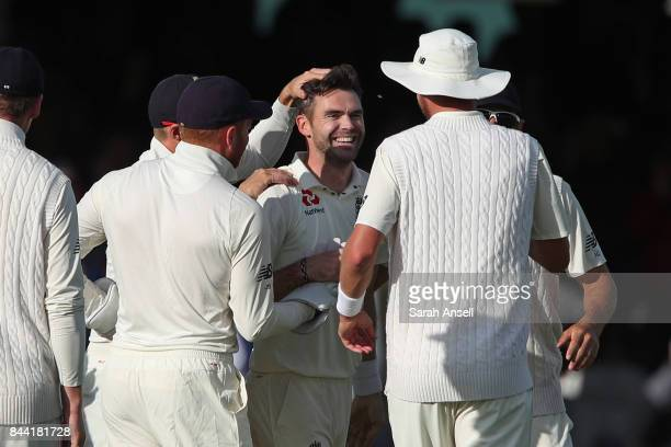 England's Jimmy Anderson's celebrates his 500th Test wicket after bowling Kraigg Brathwaite of West Indies during day two of the 3rd Investec Test...