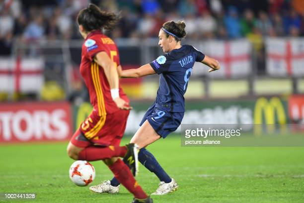 England's Jodie Taylor scores 20 against Spain's Andrea Pereira during the women's European Championship preliminary stage group D match between...