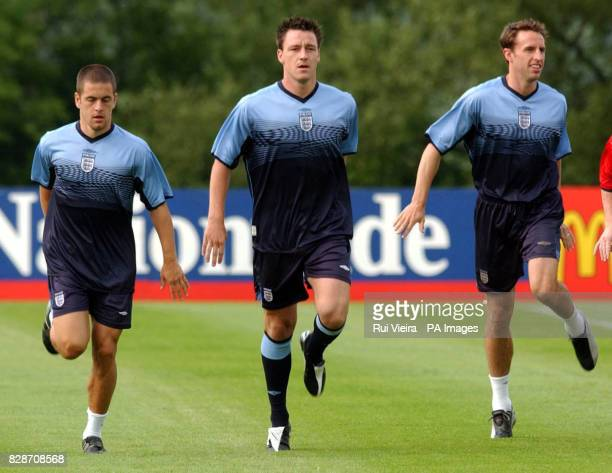 England's Joe Cole John Terry and Gareth Southgate during a team training session at Champney's Springs Leicestershire in preparation for England 's...