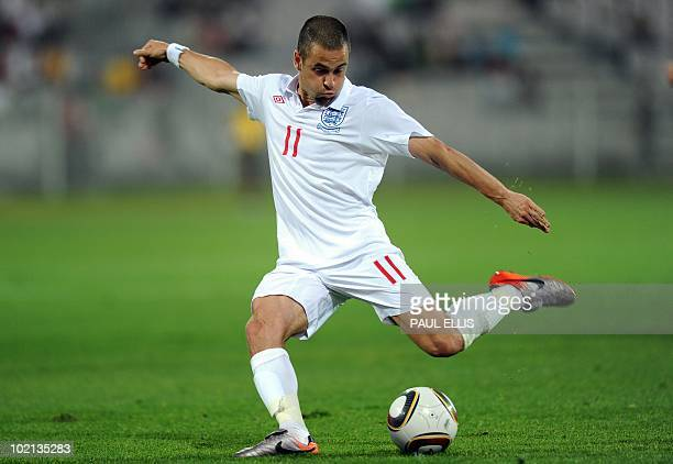 England's Joe Cole shoots at goal during a friendly football match between Platinum Stars and England at The Moruleng Stadium near Rustenburg on June...