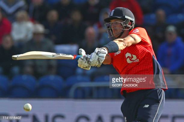 England's Joe Denly plays a shot during the international Twenty20 cricket match between England and Pakistan at Sophia Gardens in Cardiff south...