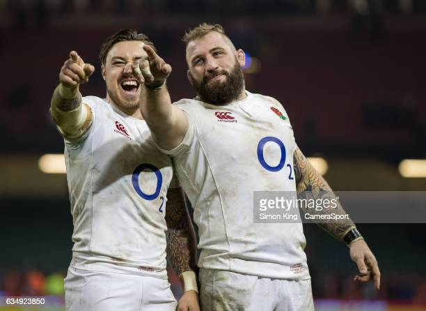 England's Joe Marler with teammate Jack Nowell see something funny in the crowd during the RBS Six Nations Championship match between Wales and...
