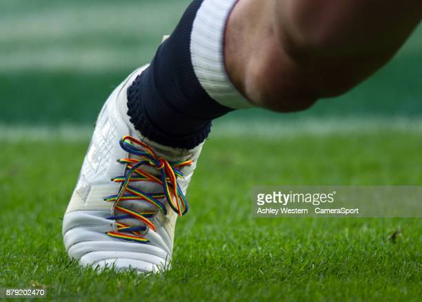 England's Joe Marler's rainbow laces during the 2017 Old Mutual Wealth Series Autumn International match between England and Samoa at Twickenham...