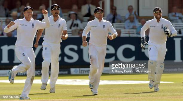 England's Joe Root Alastair Cook Ian Bell celebrate after Matt Prior took the catch of India's Cheteshwar Pujara during day three of the second test...