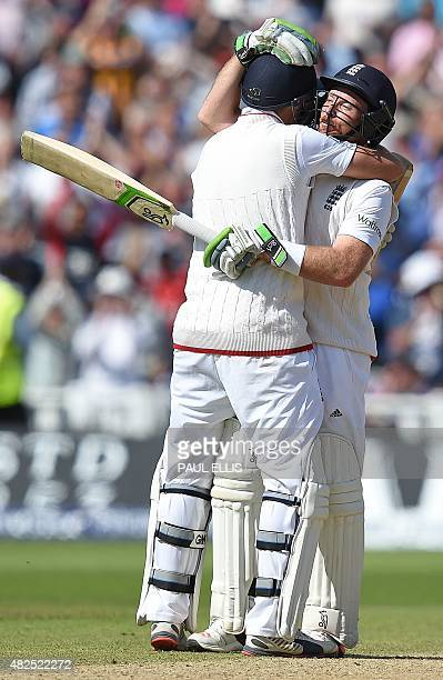 England's Joe Root and Ian Bell celebrate after adding the winning runs for England on the third day of the third Ashes cricket test match between...
