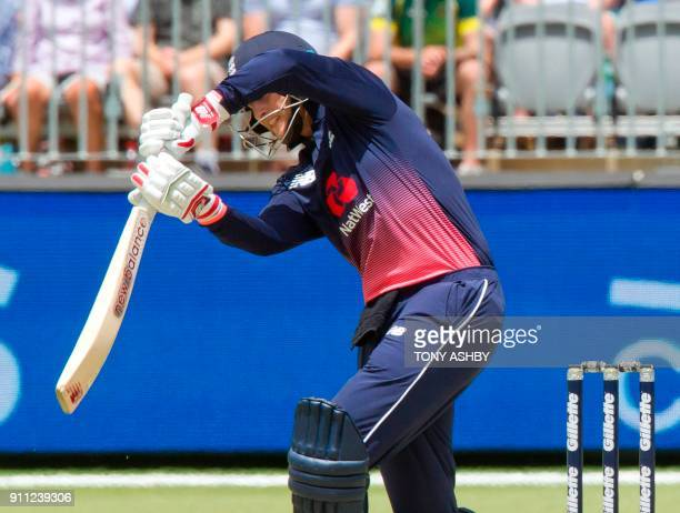 England's Joe Root bats during the fifth oneday international cricket match between England and Australia at the Optus Perth stadium in Perth on...