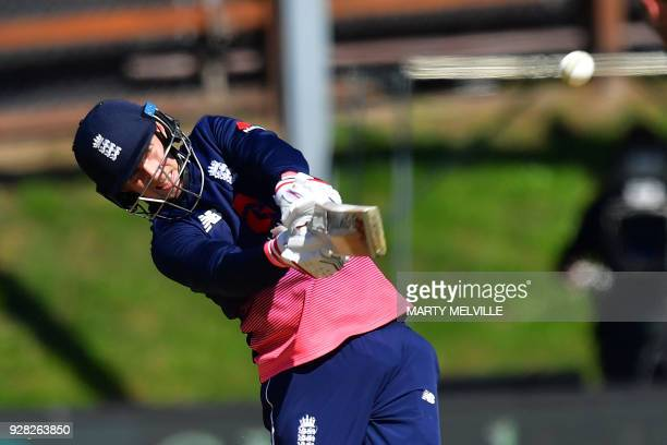 England's Joe Root bats during the fourth ODI cricket Test match between New Zealand and England at University Oval in Dunedin on March 7 2018 / AFP...