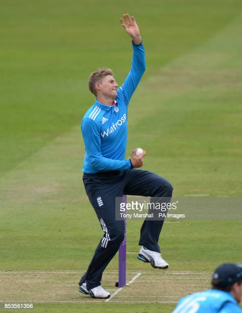 England's Joe Root bowling during the Fourth One Day International at Lords Cricket Ground, London.