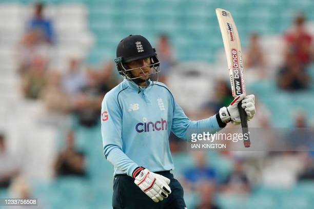 England's Joe Root celebrates his half-century during the second one-day international between England and Sri Lanka at The Oval, south London on...