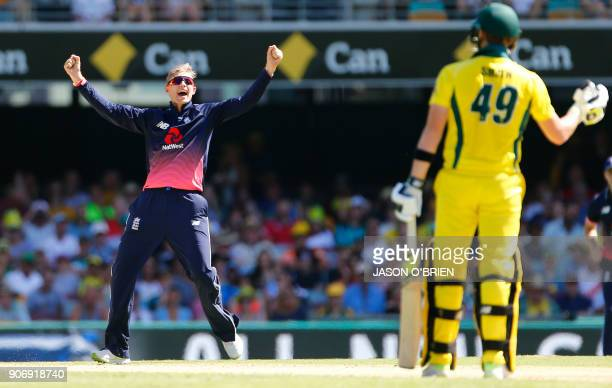 England's Joe Root celebrates the wicket of Australia's Steve Smith during the 2nd oneday international cricket match between England and Australia...